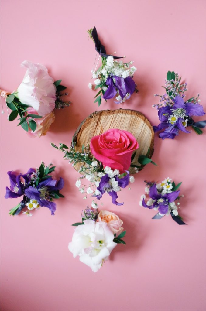 vibrant wedding corsages