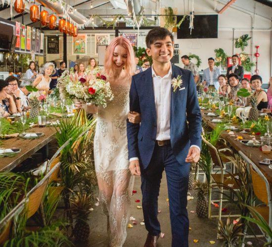 tropical golden wedding