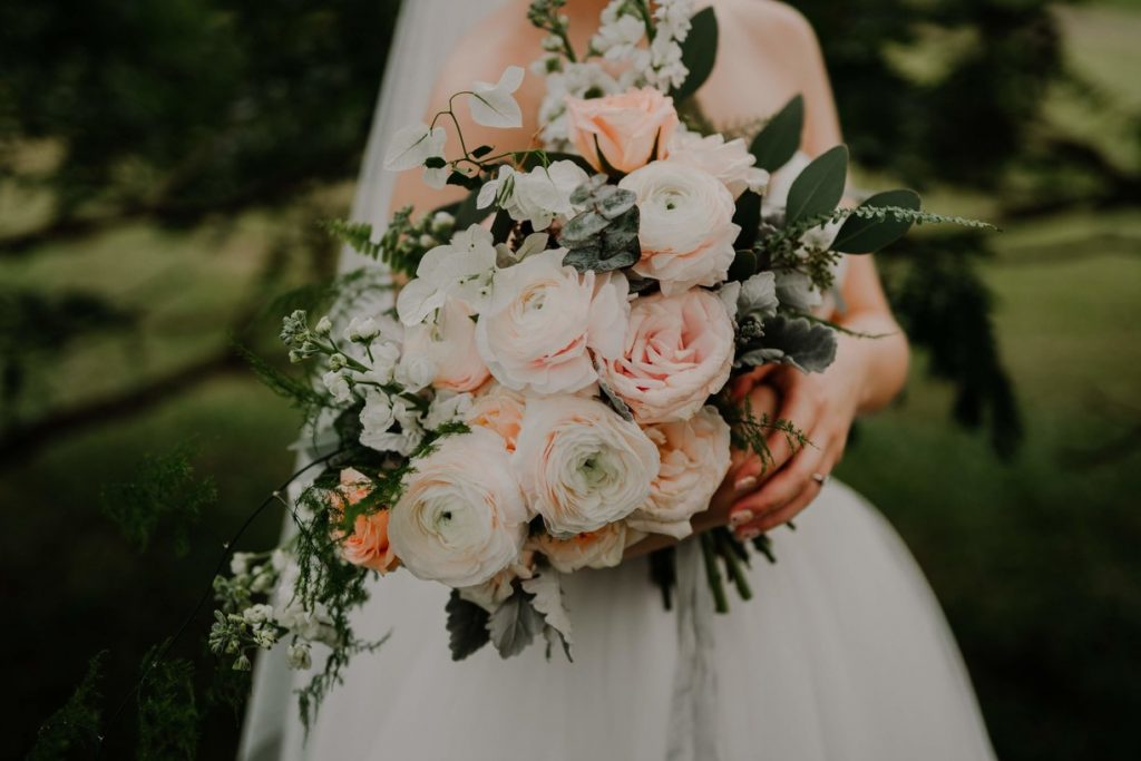 pastel bridal bouquet gathered and styled
